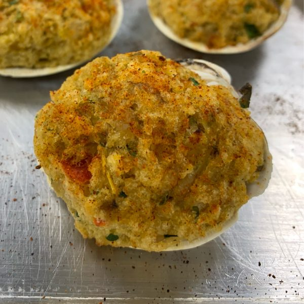 Fresh Baked Stuffed Clams Hot out of the oven